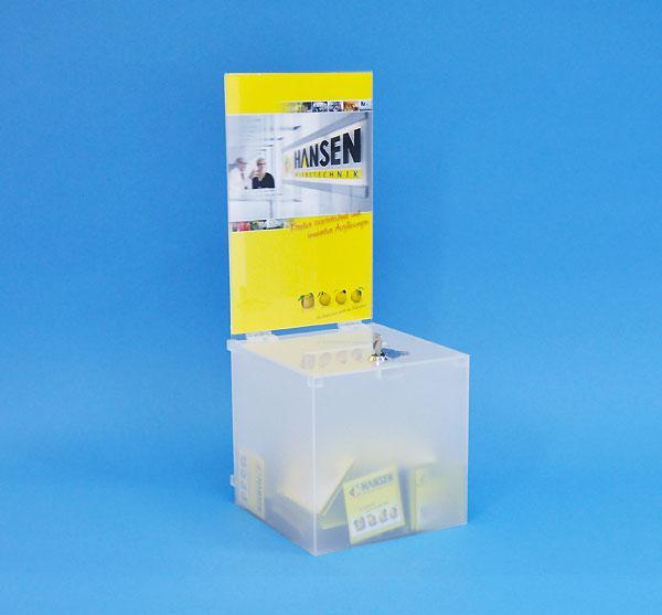 Losbox Einwurfbox Leadbox 160 x 160 x 160 mm opal blickdicht mit Schloß