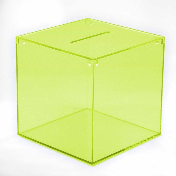 Losbox grün transparent aus Acryl