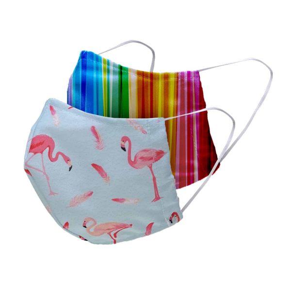 Masken Kinder web 2er flamingo regenbogen 1