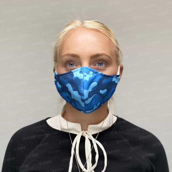 maske camo blau front Hansen Werbetechnik Corona Covid 19 HIV Grippe