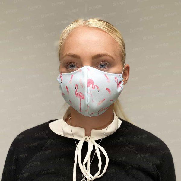 maske flamingo front Hansen Werbetechnik Corona Covid 19 HIV Grippe