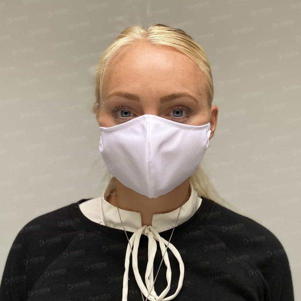 maske weiss front Hansen Werbetechnik Corona Covid 19 HIV Grippe
